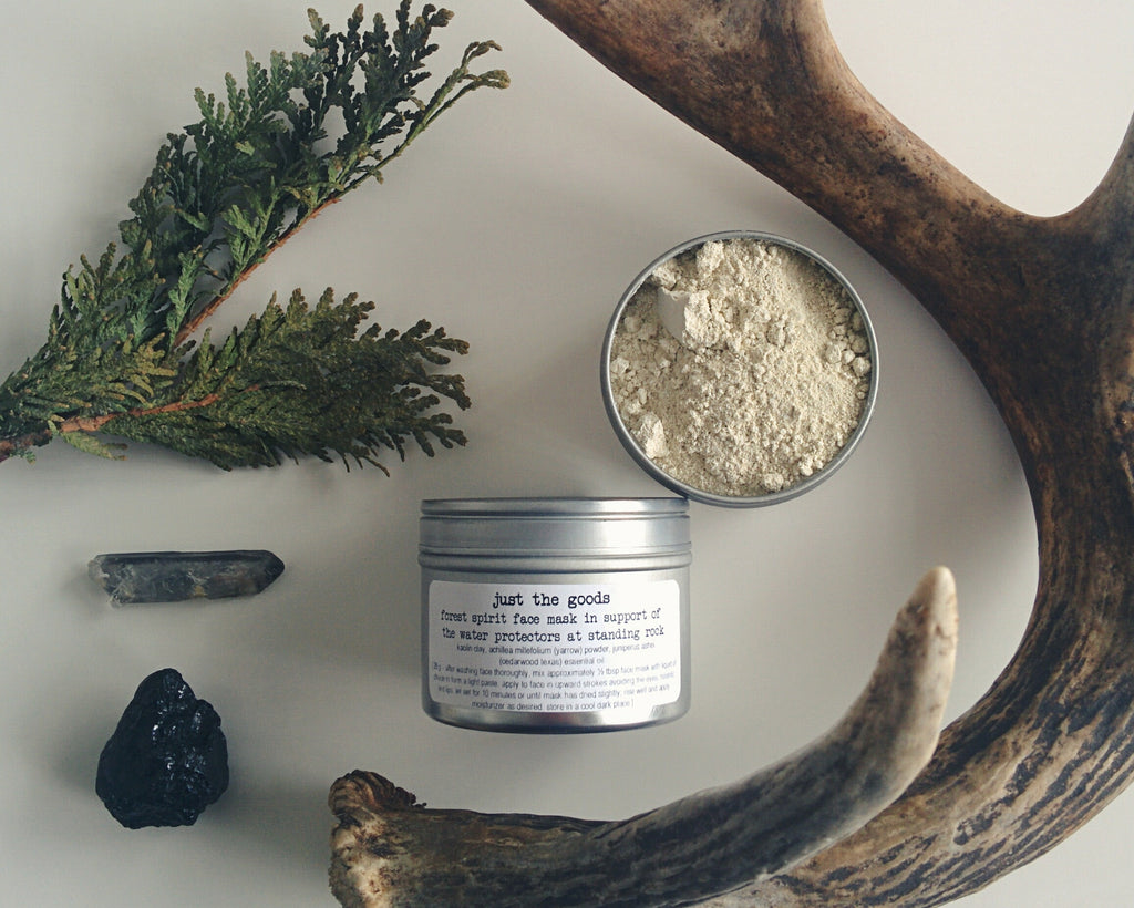 limited edition Forest Spirit facial mask in support of the Water Protectors at Standing Rock - just the goods handmade vegan crueltyfree nontoxic skincare