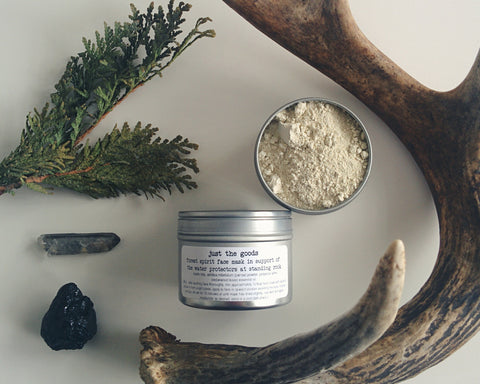 limited edition Forest Spirit facial mask in support of the Water Protectors at Standing Rock