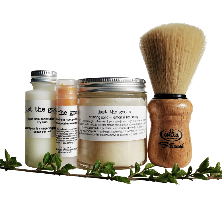Just the Goods basic vegan shaving kit with shaving brush
