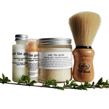 Load image into Gallery viewer, Just the Goods basic vegan shaving kit with shaving brush
