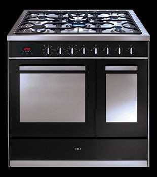 cda rv921 90cm twin cavity range cooker electric ovens with gas hob