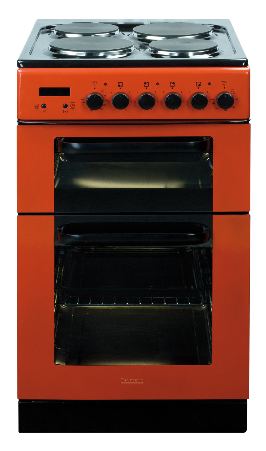 Baumatic bce520r dual cavity 50cm electric cooker red for 50cm deep kitchen units