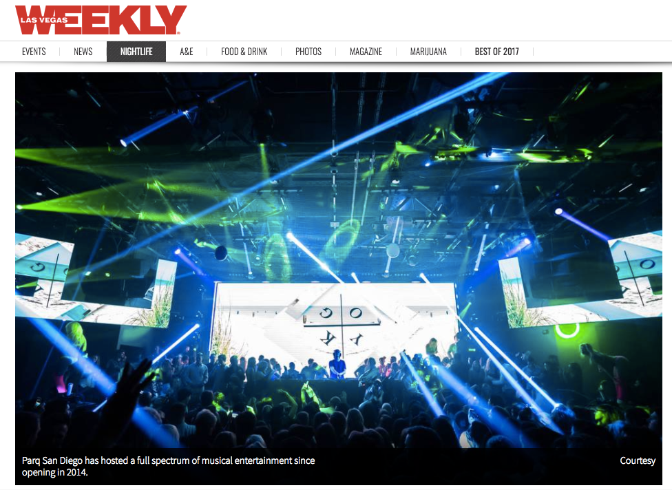 Las Vegas Weekly Shows PARQ SD some LOVE!