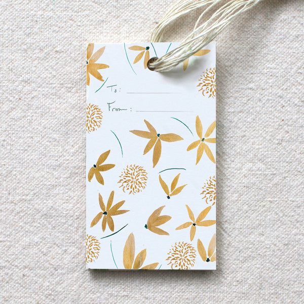 Gold Floral Gift Tags, set of 10