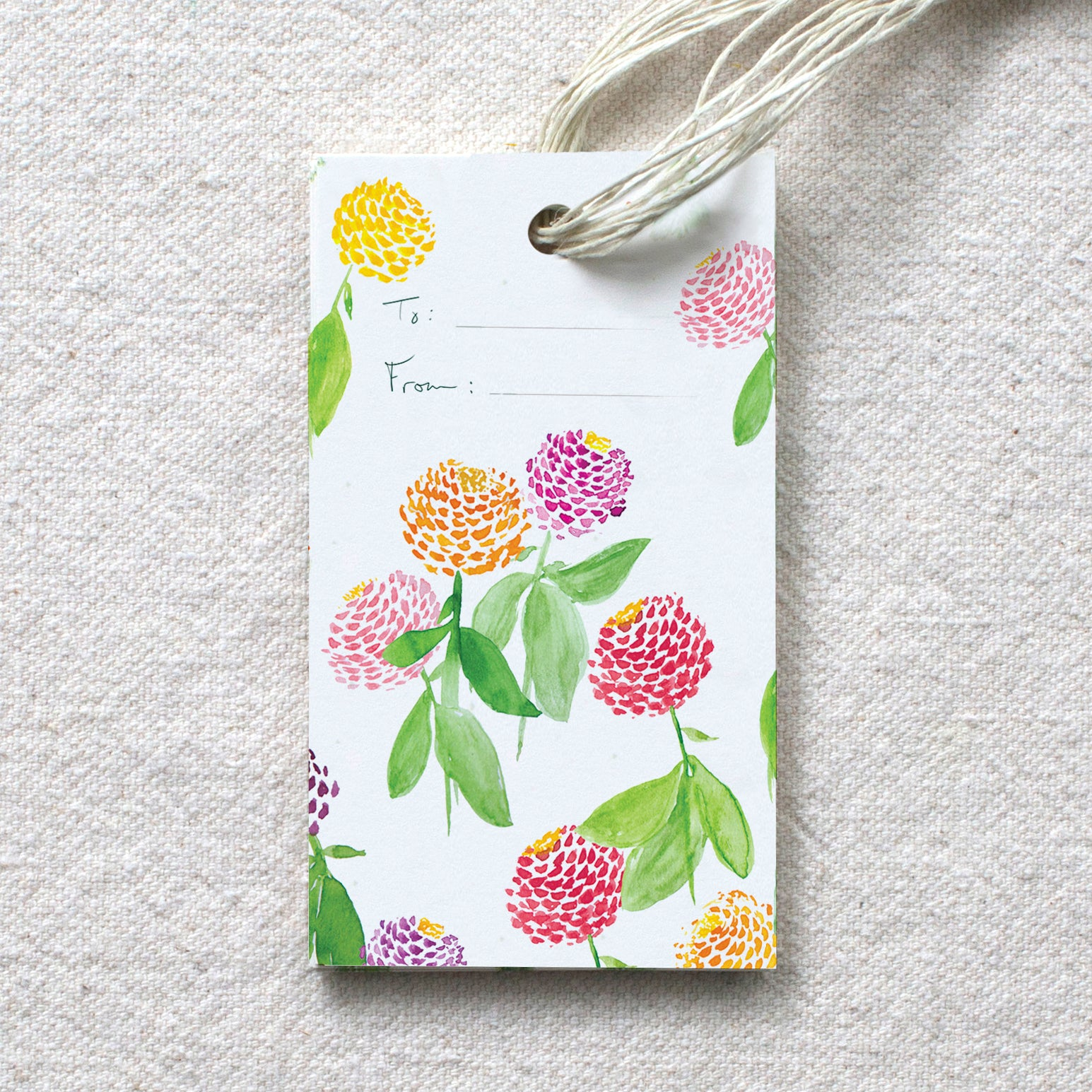 Zinnia Garden Gift Tags, set of 10