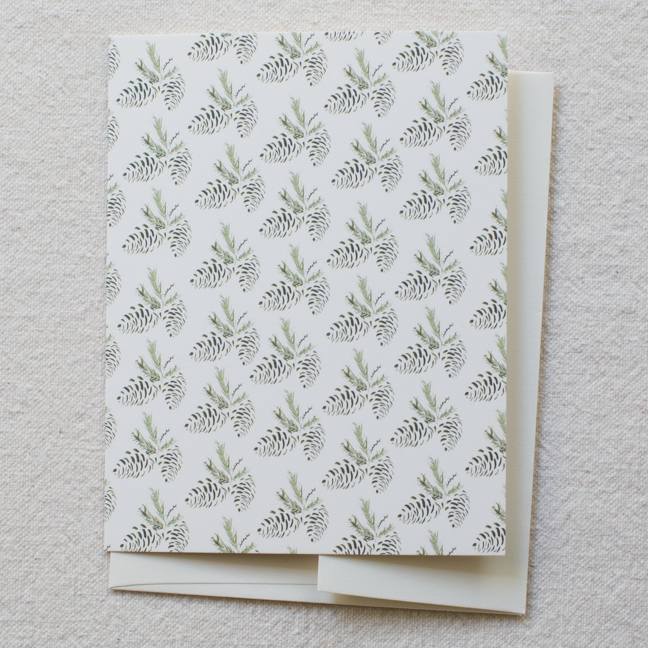 evergreen pinecones, blank card