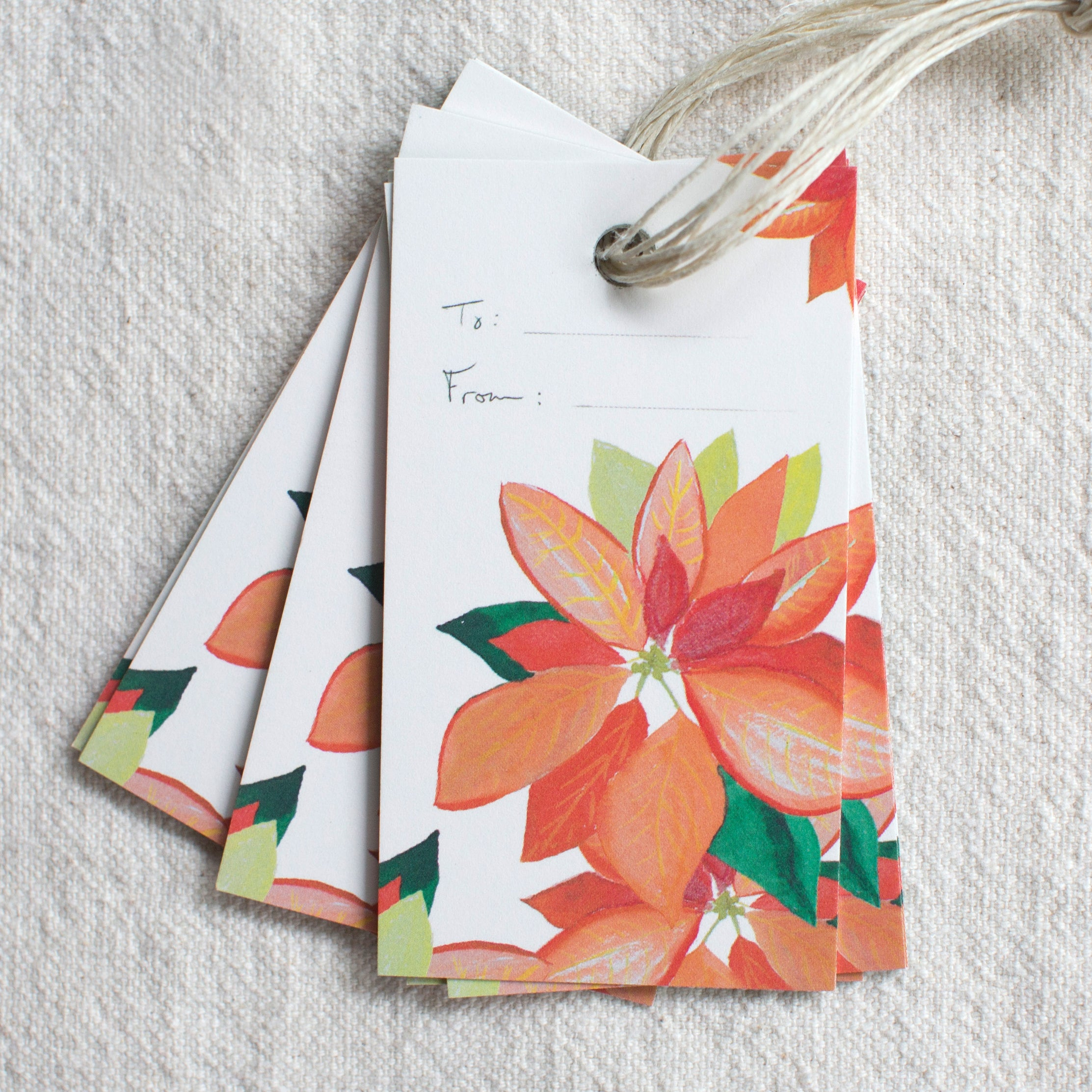 poinsettia gift tags, set of 10