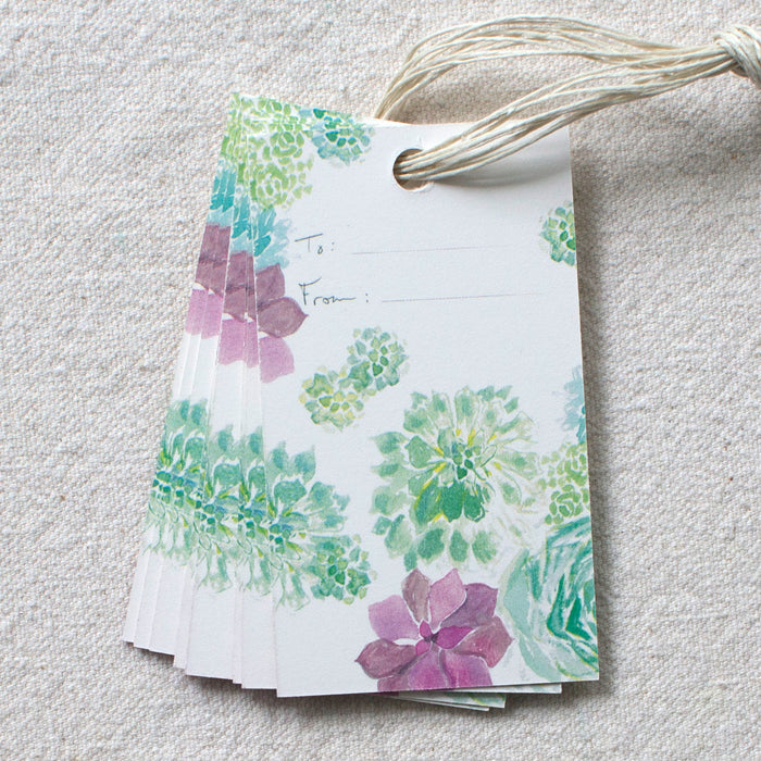 Succulents Gift Tags, Set of 10