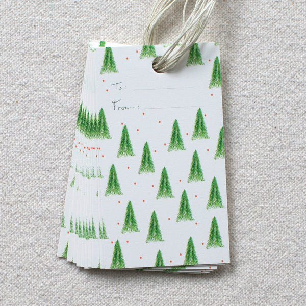 Holiday Tree Pattern Gift Tags, Set of 10