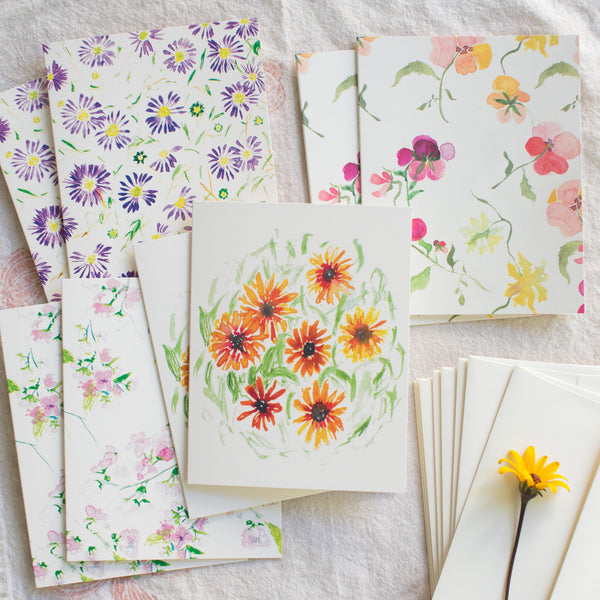 Pretty Blooms cards, set of 8
