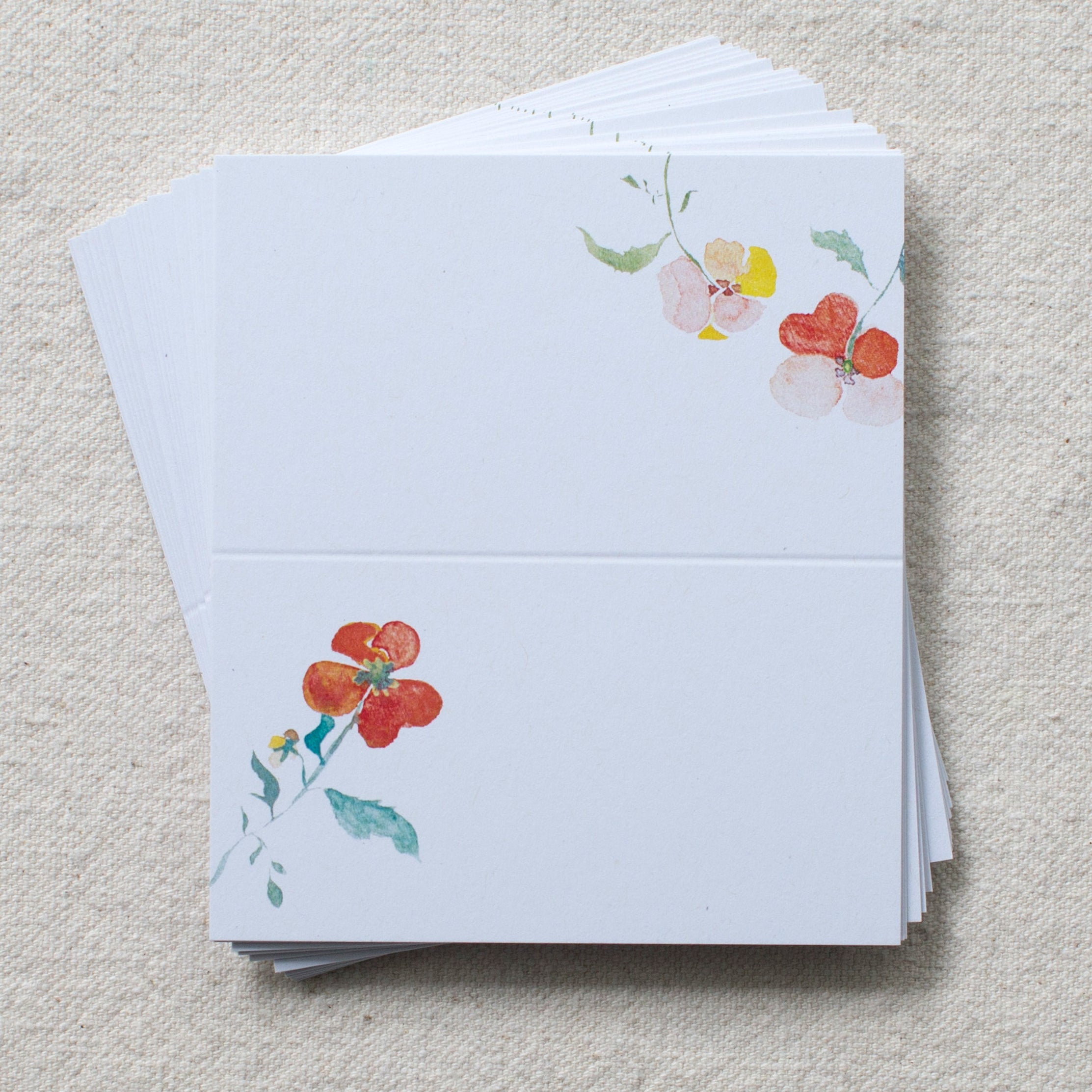 pansies place cards, set of 24