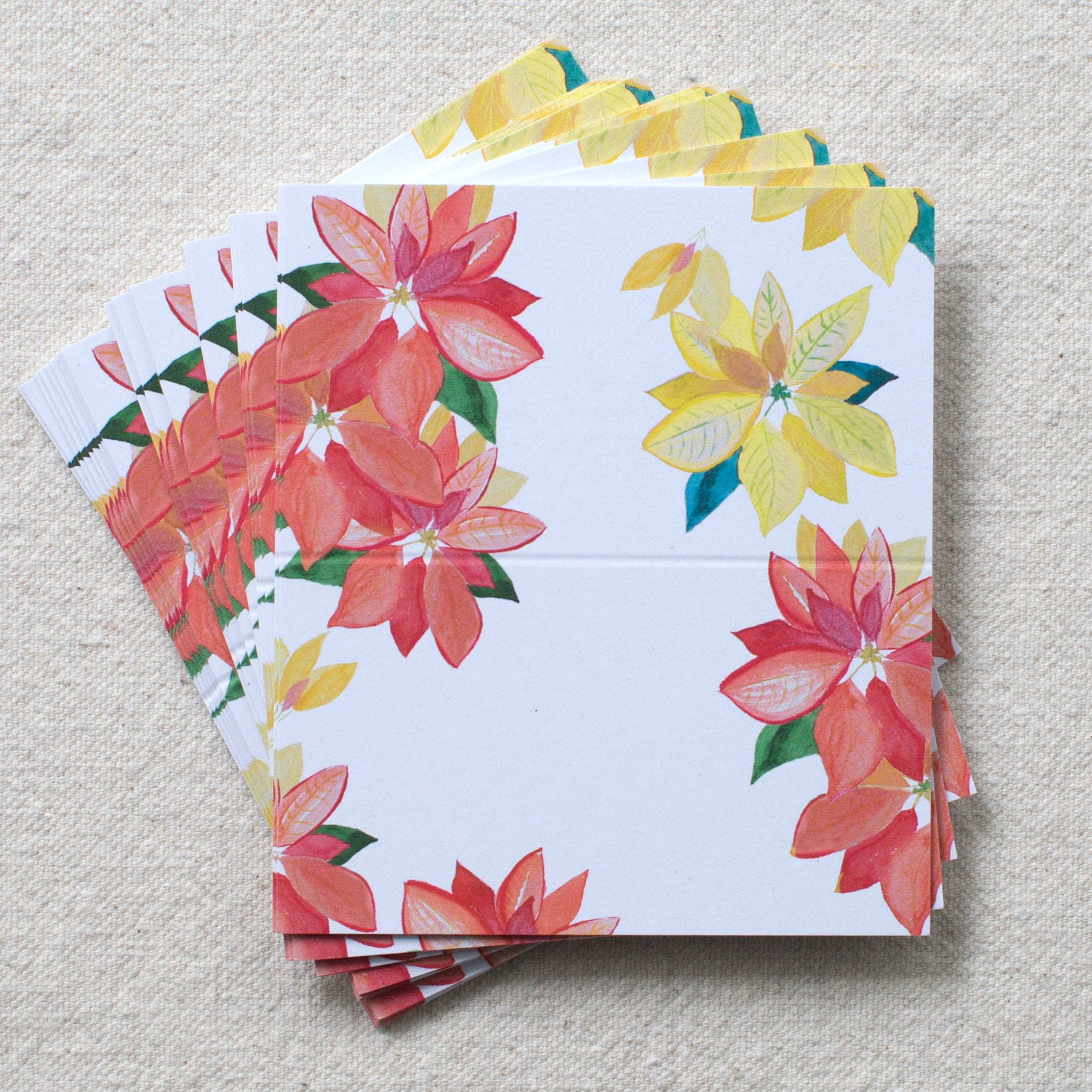 poinsettia place cards, set of 24