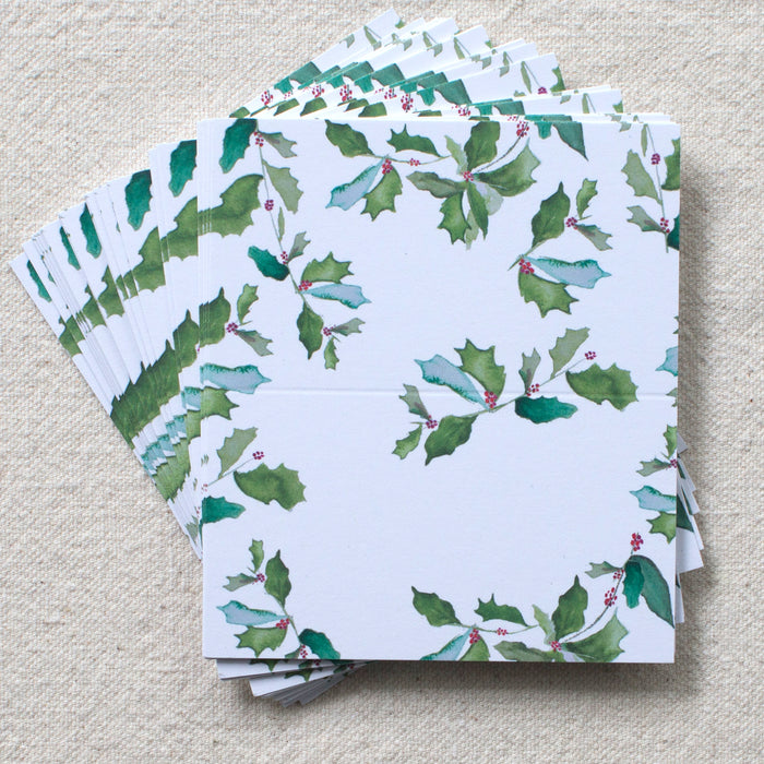 Holly Place Cards, Set of 24