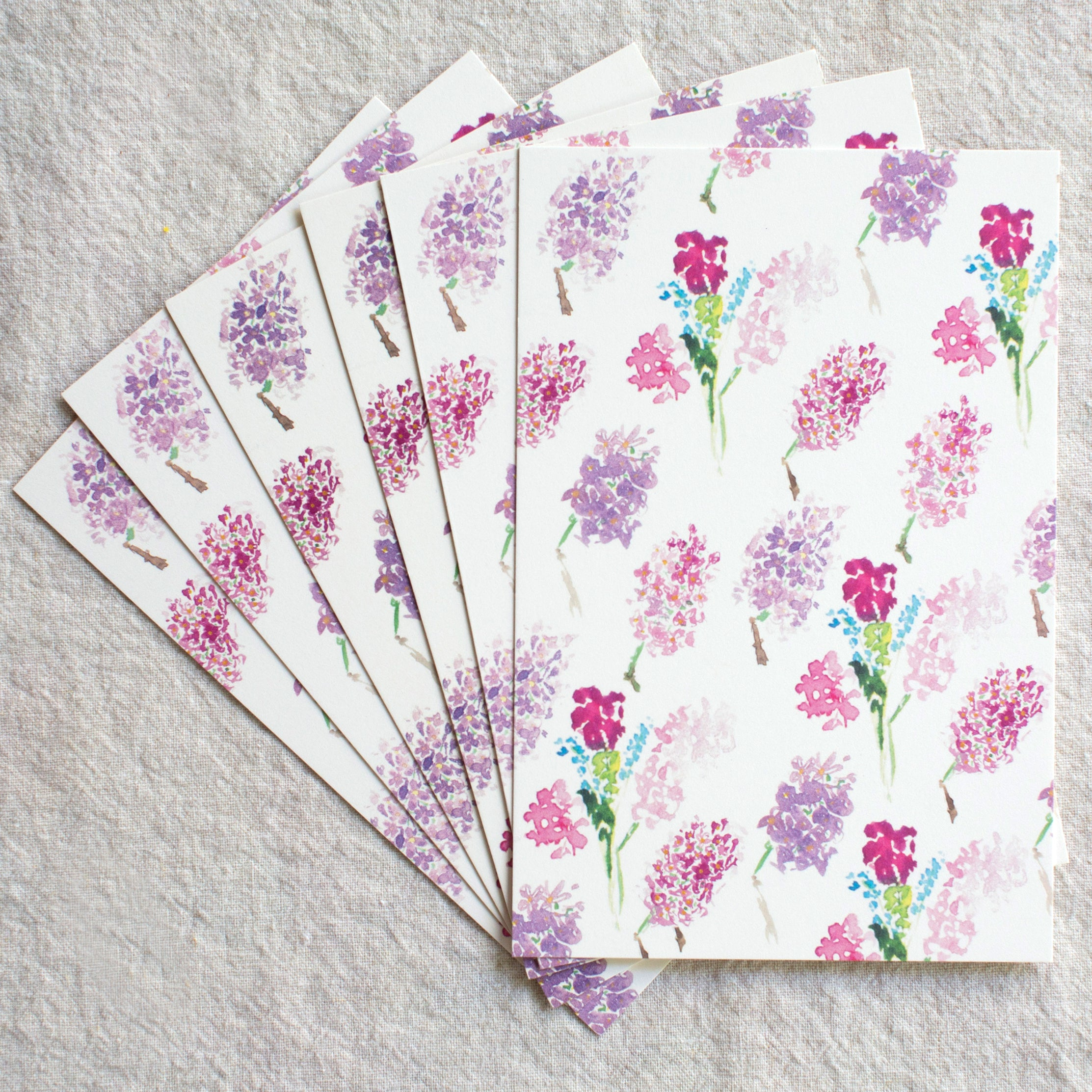 Lilac Post Cards, set of 6