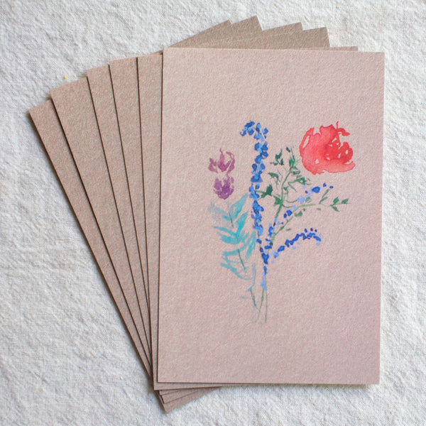 Rose + Lavender Bouquet Post Cards, set of 6