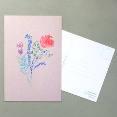 mixed floral post cards, set of 6