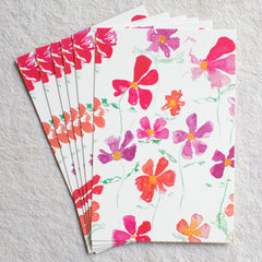 Pink Cosmos Post Cards, set of 6