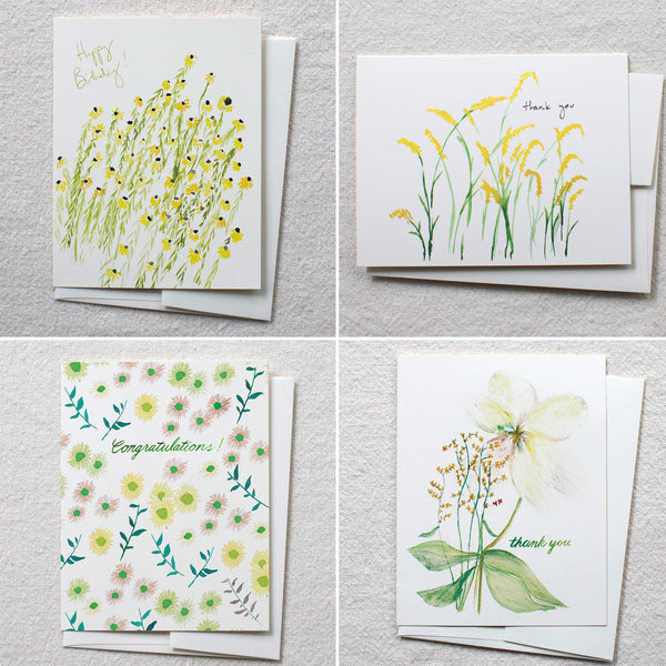 Yellow Occasion Cards, set of 8