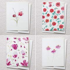 pinks + reds floral cards, set of 8