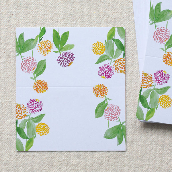Zinnia Garden Place Cards, set of 24