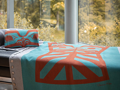 Chloe Angus Design Blanket with Copper Print by Clarnence Mills
