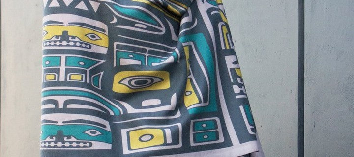 Chloe Angus Design - Spirit Wrap in Chilkat Dove. Print by Wade Baker.