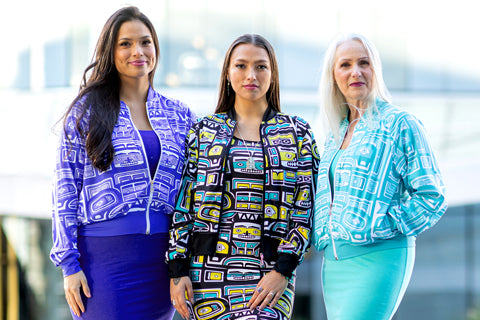 Chloe Angus Design clothing featuring Chilkat print by Wade Baker