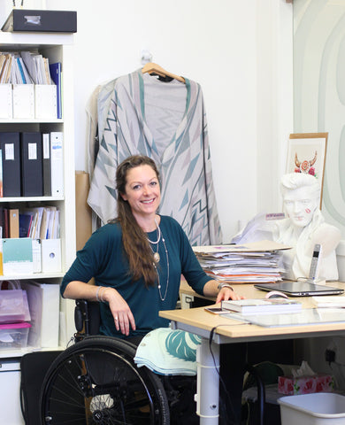 Designer Chloe Angus working in her Studio