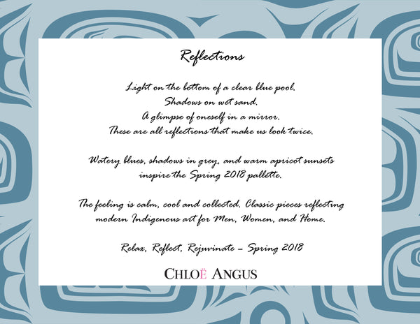 text explaining the new collection inspired by reflections on water so you can relax, reflect and rejuvenate
