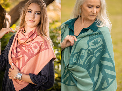 Chloe Angus Design Spirit Wraps with Copper Print by Clarence Mills
