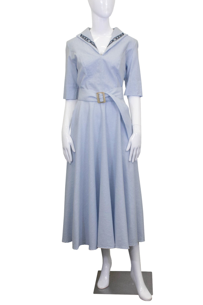 High Collar Dress - Glacier