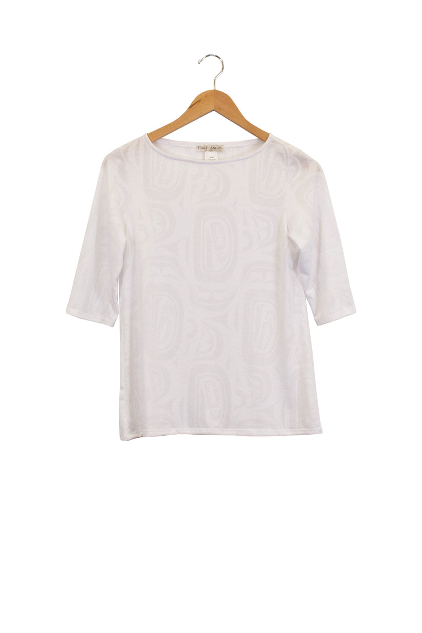 Boatneck 3/4 Sleeve Top - White Modern