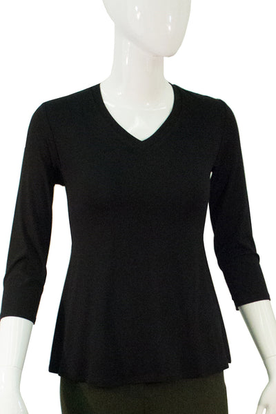 3/4 Sleeve V - Neck Top - Black