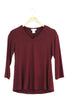 3/4 Sleeve V - Neck Top - Bordeaux
