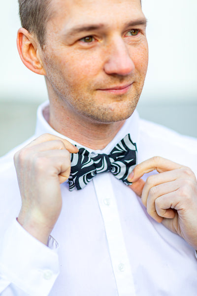 Bowtie and Pocket Square - White/Black Modern