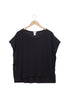 black linen boxy top on hanger