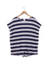 navy stripe linen boxy top on hanger