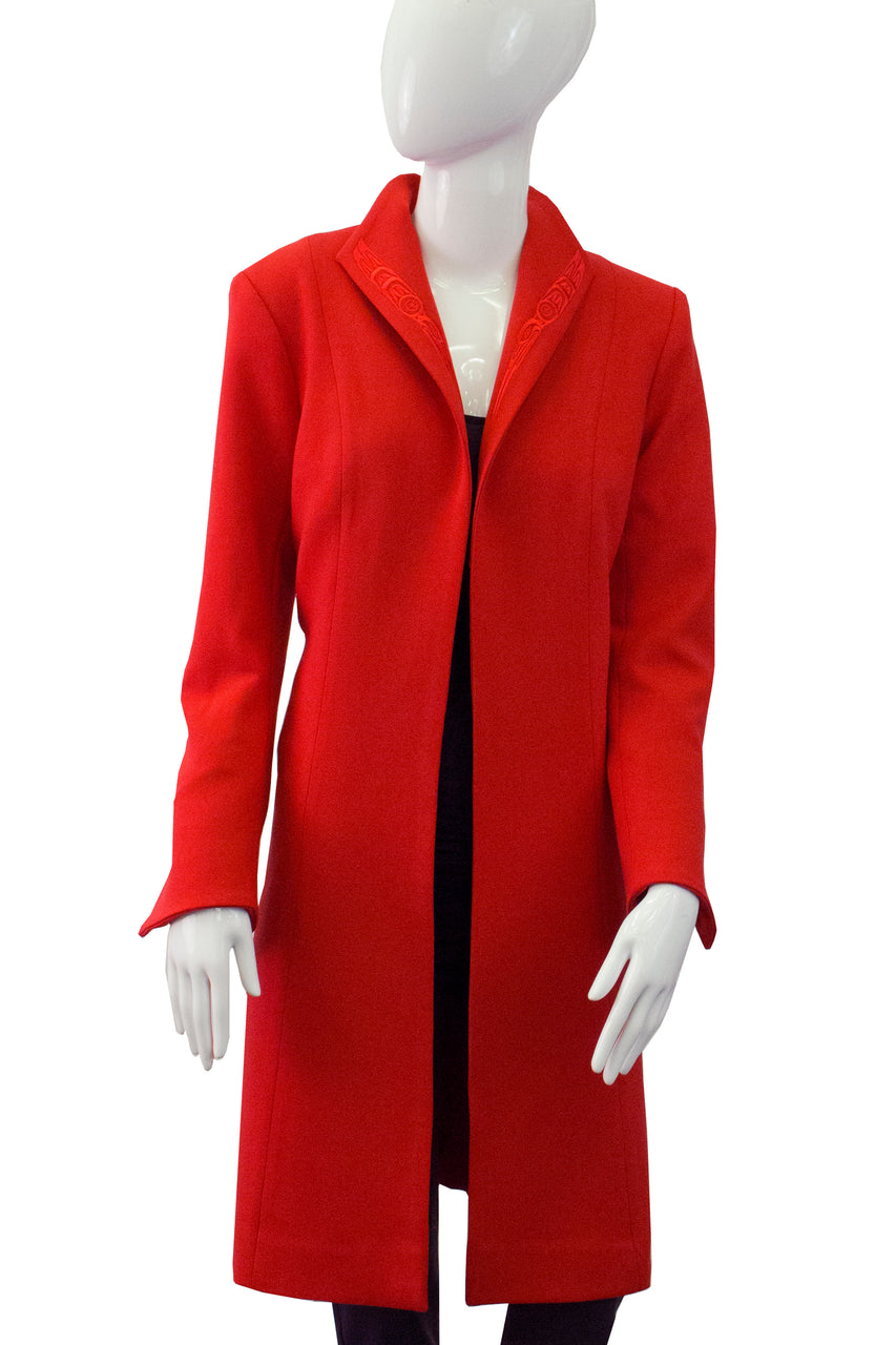 Empress Coat with Hummingbirds - Red