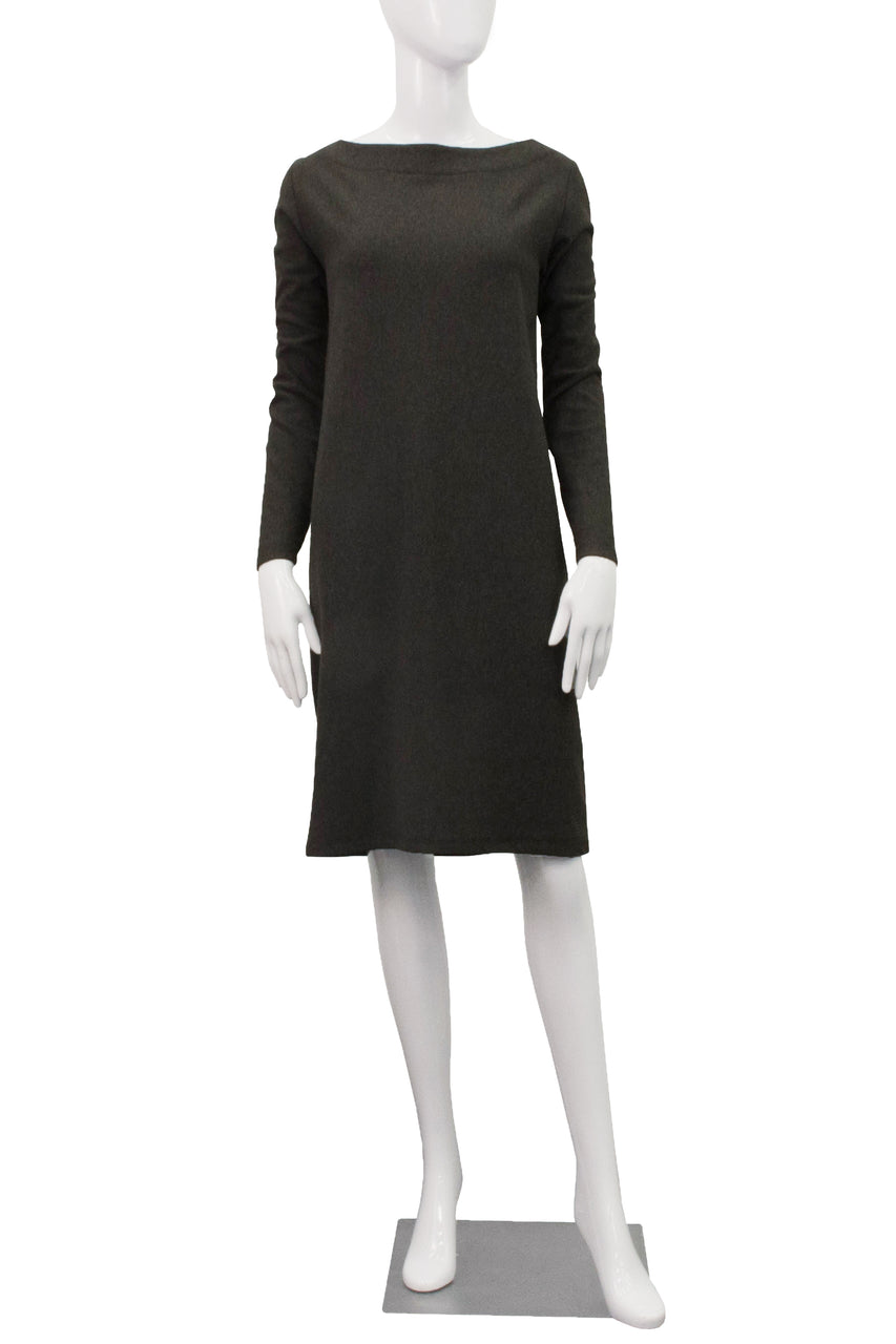 Fleece Boatneck Dress - Charcoal