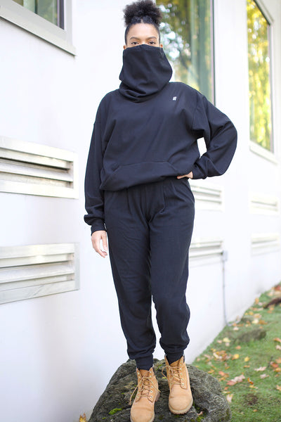 Fleece Harem Pants - Black