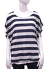 navy stripe linen boxy top