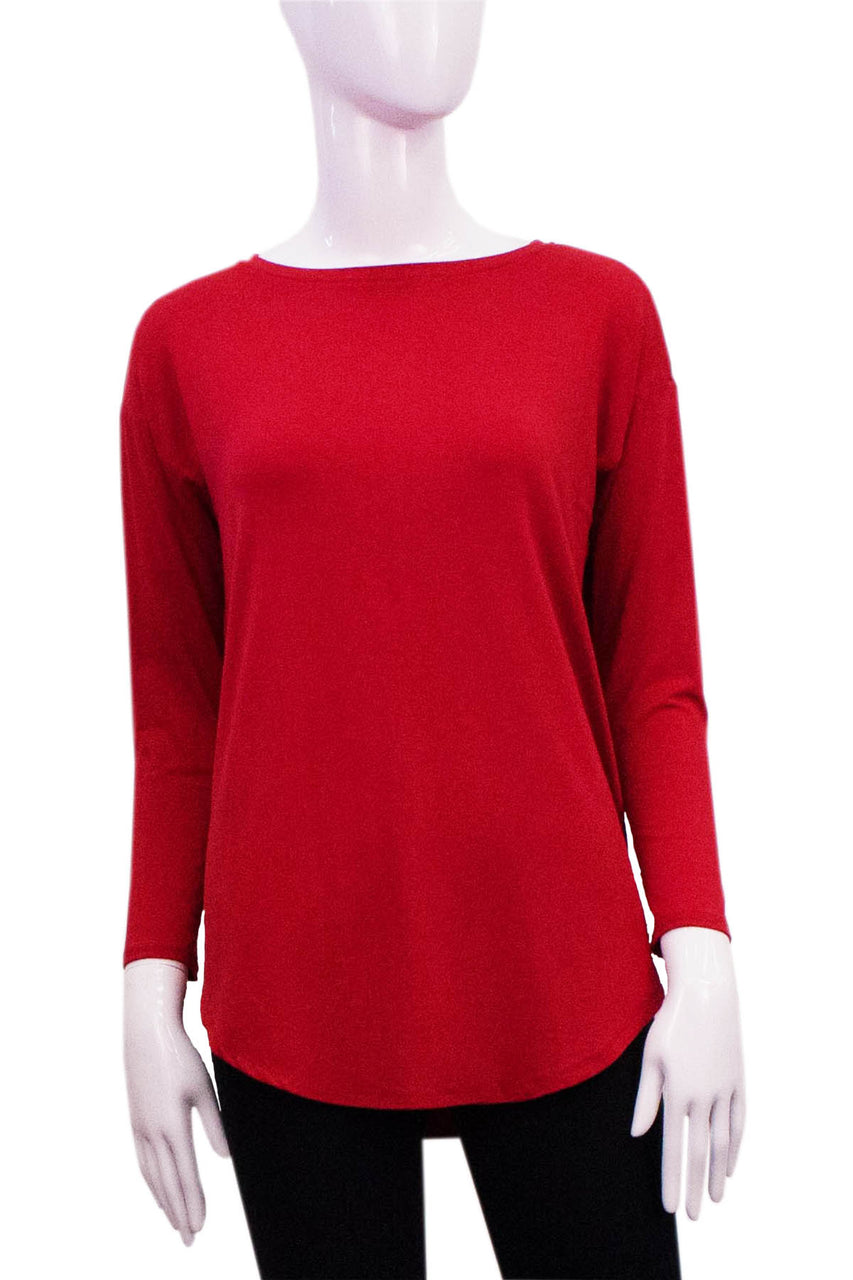 red shirttail top