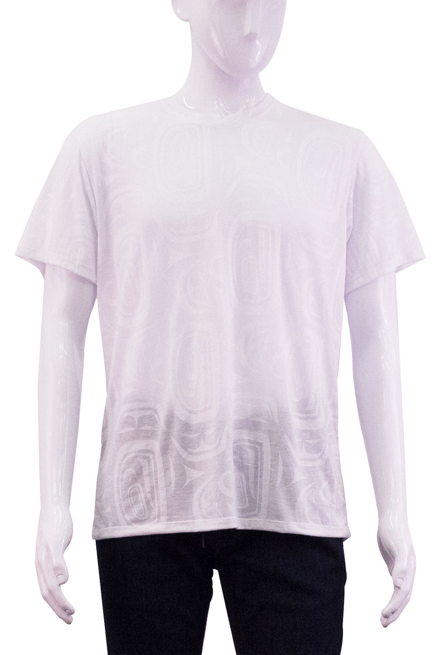 white unisex tshirt on men's mannequin front view