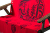 great bear rainforest blanket red display on bench