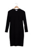 black high neck dress on hanger