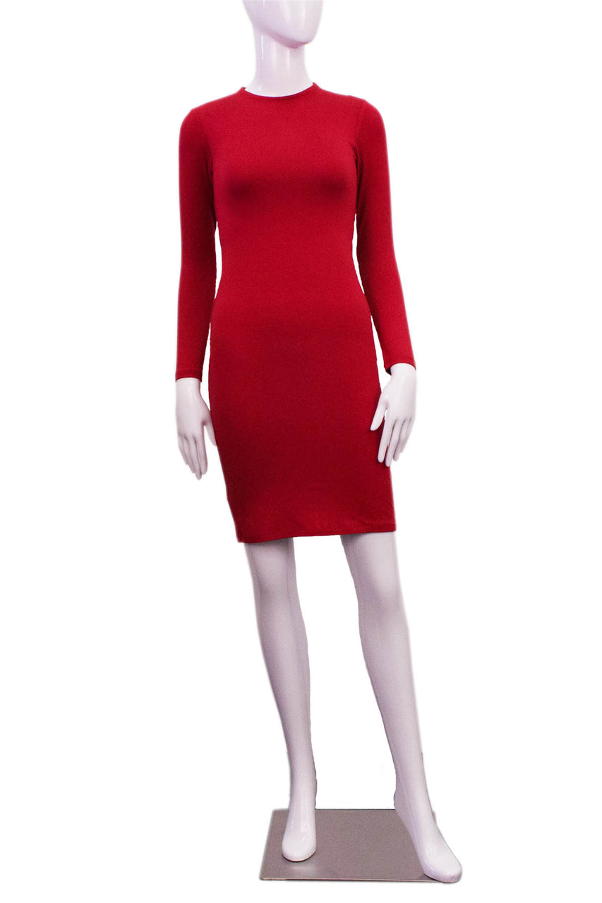 red high neck dress