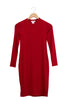 red high neck dress on hanger