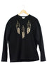 Sweatshirt - Feathers - Black/Gold