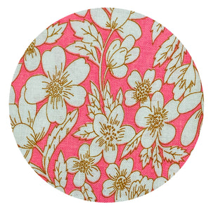 Pink Floral Cotton Linen BEAUTIFUL FABRIC