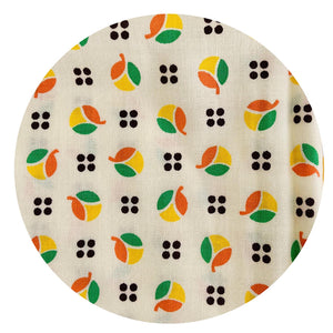 Cotton Fabric Retro Yellow Orange & Green PRINT Sewing Craft